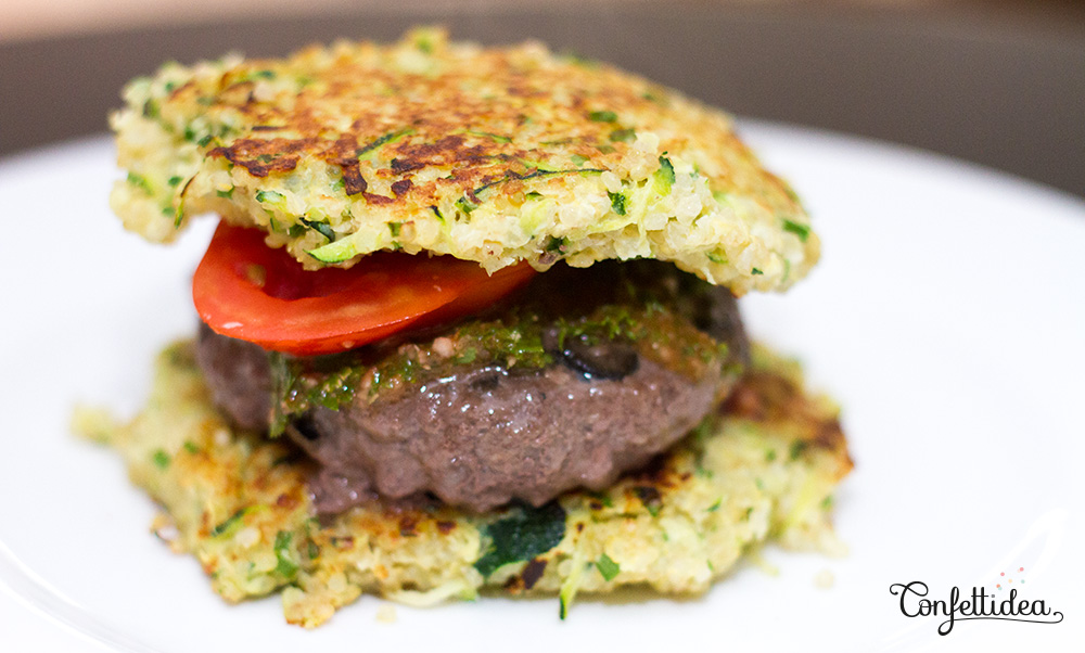 Quinoa Patties Burger with Chimichurri Sauce