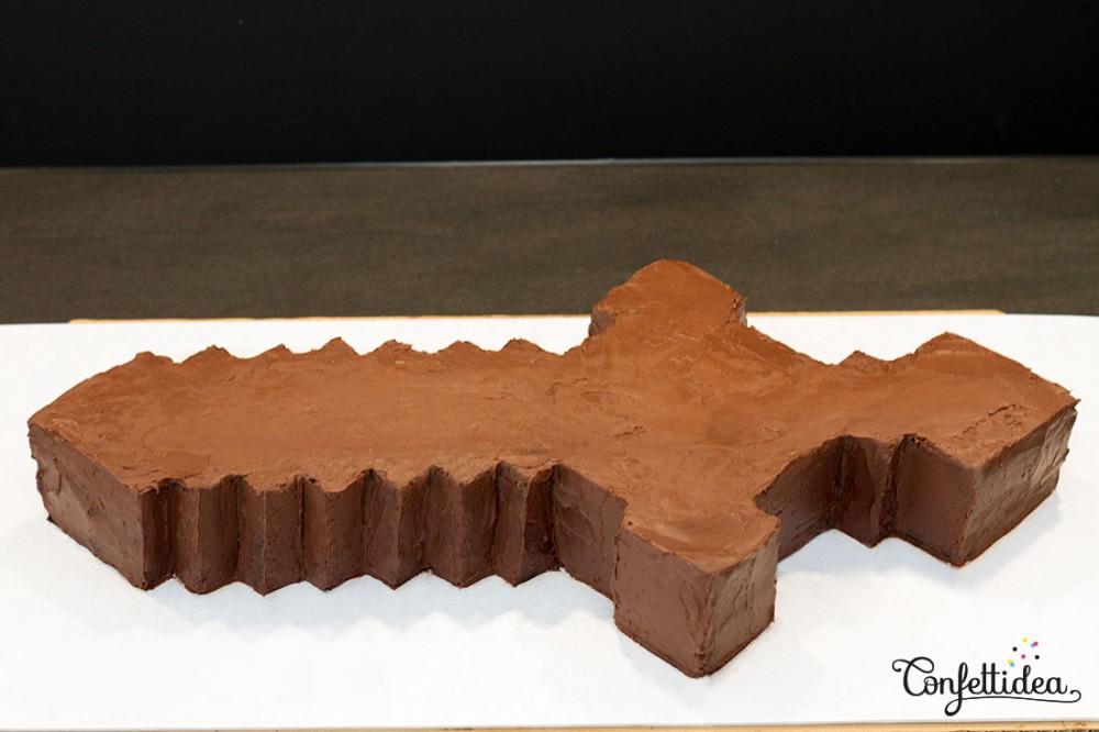 gâteau minecraft ganache