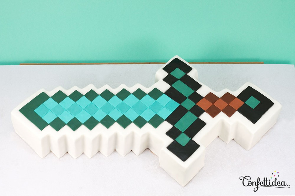 gâteau Minecraft pâte à sucre