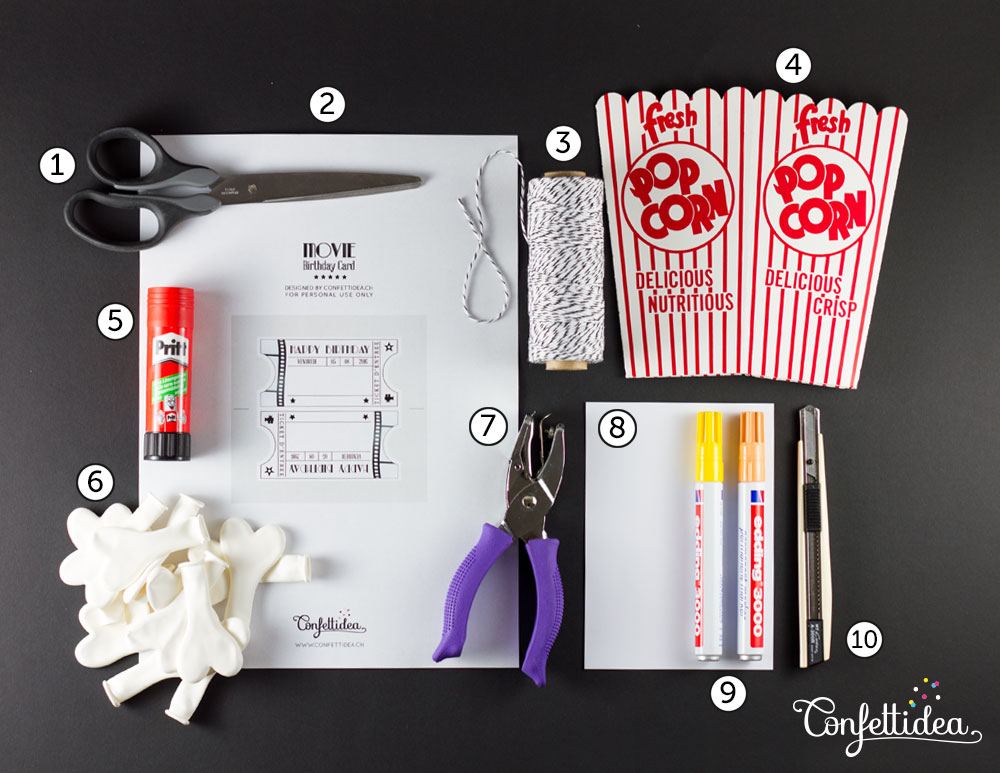 Take A Look Below How To Achieve This Original Birthday Card Box With Popcorn Shaped Balloons I Think Idea Would Also Be Perfect For Movie Theme